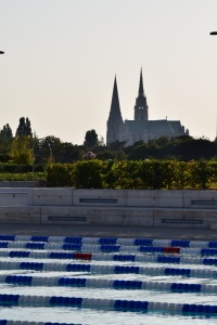 Pool with a view! Chartres Cathedral