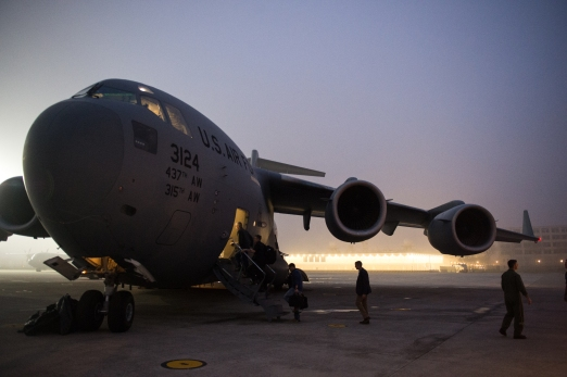 Boarding the C-17 Aircraft
