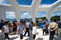 U.S. Air Force Gen. Paul J. Selva, Vice Chairman of the Joint Chiefs of Staff, along with USO entertainers, visiting the USS Arizona memorial