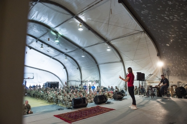 Speaking to troops in Bagram Afghanistan