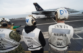 Watching flight operations in support of Operation Inherent Resolve aboard the aircraft carrier USS George H. W. Bush (CVN 77)