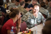 Breakfast with service members at Al Udeid Air Base, Qatar